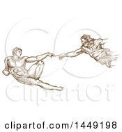 Clipart Graphic Of A Brown Sketched Scene Of The Creation Of Adam Royalty Free Vector Illustration by Domenico Condello
