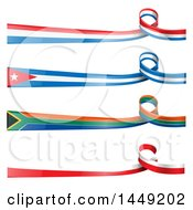Clipart Graphic Of French Polish South African And Cuban Ribbon Flag Design Elements Royalty Free Vector Illustration