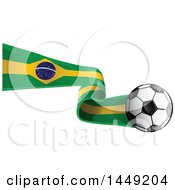 Clipart Graphic Of A Soccer Ball And Brazilian Flab Ribbon Royalty Free Vector Illustration