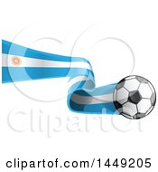 Poster, Art Print Of Soccer Ball And Argentine Flab Ribbon