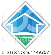 Clipart Graphic Of A House In A Blue Green And Gray Diamond Royalty Free Vector Illustration by Domenico Condello