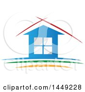 Clipart Graphic Of A Blue House With Red Lines Over The Roof Above Green And Yellow Royalty Free Vector Illustration