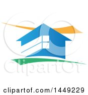 Clipart Graphic Of A Blue House With Yellow And Green Swooshes Royalty Free Vector Illustration