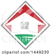 Clipart Graphic Of A House In A Red Green And Gray Diamond Royalty Free Vector Illustration