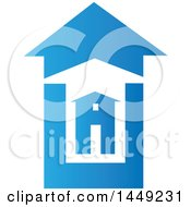 Clipart Graphic Of A House In Bigger Blue And White Homes Royalty Free Vector Illustration by Domenico Condello