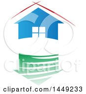 Clipart Graphic Of A Blue House With Red Lines Over The Roof Above A Green Reflection Royalty Free Vector Illustration