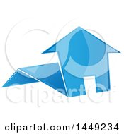 Clipart Graphic Of A Blue Folded Paper House Royalty Free Vector Illustration
