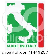 Clipart Graphic Of An Italian Map And Made In Italy Stamp Design Element Royalty Free Vector Illustration