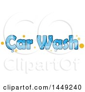 Clipart Graphic Of A Sparkly Blue Car Wash Design With Yellow Dots And Water Drops Royalty Free Vector Illustration