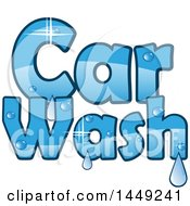 Clipart Graphic Of A Sparkly Blue Car Wash Design With Water Drops Royalty Free Vector Illustration