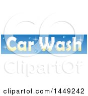 Clipart Graphic Of A Sparkly Car Wash Design On Blue Royalty Free Vector Illustration