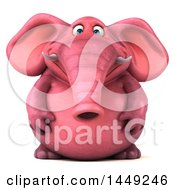 Clipart Graphic Of A 3d Pink Elephant Character On A White Background Royalty Free Illustration