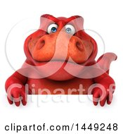 Clipart Graphic Of A 3d Red Tommy Tyrannosaurus Rex Dinosaur Mascot Over A Sign On A White Background Royalty Free Illustration by Julos