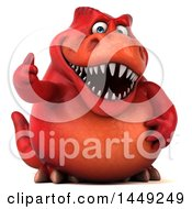 Clipart Graphic Of A 3d Red Tommy Tyrannosaurus Rex Dinosaur Mascot Giving A Thumb Up On A White Background Royalty Free Illustration by Julos