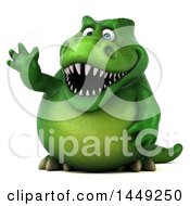 Clipart Graphic Of A 3d Green Tommy Tyrannosaurus Rex Dinosaur Mascot Waving On A White Background Royalty Free Illustration by Julos