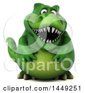 3d Green Tommy Tyrannosaurus Rex Dinosaur Mascot On A White Background