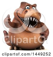Poster, Art Print Of 3d Brown Tommy Tyrannosaurus Rex Dinosaur Mascot Giving A Thumb Up On A White Background