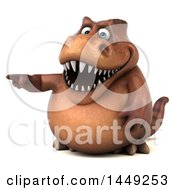Poster, Art Print Of 3d Brown Tommy Tyrannosaurus Rex Dinosaur Mascot Pointing On A White Background
