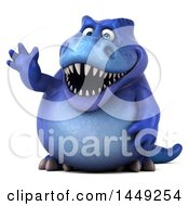 Poster, Art Print Of 3d Blue Tommy Tyrannosaurus Rex Dinosaur Mascot Waving On A White Background