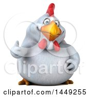 Poster, Art Print Of 3d Chubby White Chicken Giving A Tumb Up On A White Background