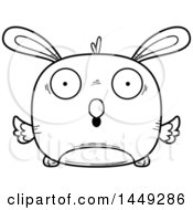 Clipart Graphic Of A Cartoon Black And White Lineart Surprised Easter Bunny Chick Character Mascot Royalty Free Vector Illustration