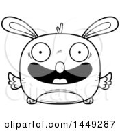 Clipart Graphic Of A Cartoon Black And White Lineart Happy Easter Bunny Chick Character Mascot Royalty Free Vector Illustration
