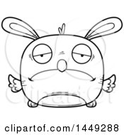 Cartoon Black And White Lineart Sad Easter Bunny Chick Character Mascot