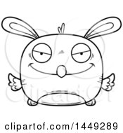 Clipart Graphic Of A Cartoon Black And White Lineart Sly Easter Bunny Chick Character Mascot Royalty Free Vector Illustration
