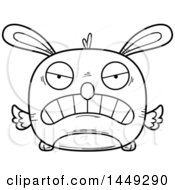 Cartoon Black And White Lineart Mad Easter Bunny Chick Character Mascot