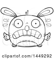 Clipart Graphic Of A Cartoon Black And White Lineart Scared Easter Bunny Chick Character Mascot Royalty Free Vector Illustration