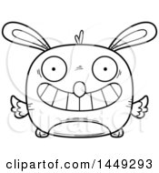 Clipart Graphic Of A Cartoon Black And White Lineart Grinning Easter Bunny Chick Character Mascot Royalty Free Vector Illustration by Cory Thoman