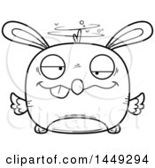 Clipart Graphic Of A Cartoon Black And White Lineart Drunk Easter Bunny Chick Character Mascot Royalty Free Vector Illustration by Cory Thoman
