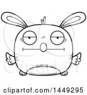 Clipart Graphic Of A Cartoon Black And White Lineart Bored Easter Bunny Chick Character Mascot Royalty Free Vector Illustration by Cory Thoman
