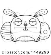 Cartoon Black And White Lineart Bored Easter Bunny Character Mascot