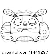 Cartoon Black And White Lineart Drunk Easter Bunny Character Mascot