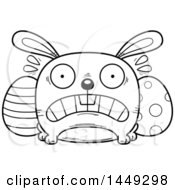 Cartoon Black And White Lineart Scared Easter Bunny Character Mascot