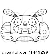 Clipart Graphic Of A Cartoon Black And White Lineart Grinning Easter Bunny Character Mascot Royalty Free Vector Illustration