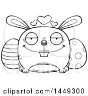 Cartoon Black And White Lineart Loving Easter Bunny Character Mascot