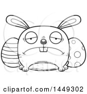 Cartoon Black And White Lineart Sad Easter Bunny Character Mascot