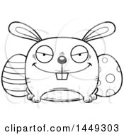 Cartoon Black And White Lineart Sly Easter Bunny Character Mascot