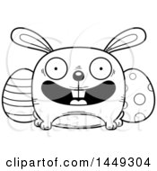 Cartoon Black And White Lineart Happy Easter Bunny Character Mascot