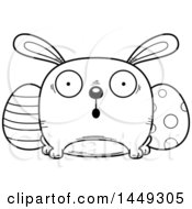 Clipart Graphic Of A Cartoon Black And White Lineart Surprised Easter Bunny Character Mascot Royalty Free Vector Illustration