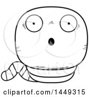 Clipart Graphic Of A Cartoon Black And White Lineart Surprised Worm Character Mascot Royalty Free Vector Illustration
