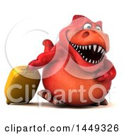 Poster, Art Print Of 3d Red Tommy Tyrannosaurus Rex Dinosaur Mascot Traveler On A White Background