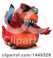 Poster, Art Print Of 3d Red Tommy Tyrannosaurus Rex Dinosaur Mascot Talking On A Smart Phone On A White Background