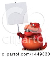 3d Red Tommy Tyrannosaurus Rex Dinosaur Mascot Holding A Blank Sign On A White Background