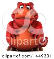 Poster, Art Print Of 3d Red Tommy Tyrannosaurus Rex Dinosaur Mascot On A White Background