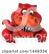 Poster, Art Print Of 3d Red Tommy Tyrannosaurus Rex Dinosaur Mascot Over A Sign On A White Background