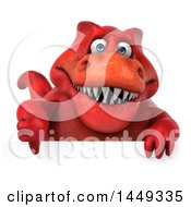 3d Red Tommy Tyrannosaurus Rex Dinosaur Mascot Over A Sign On A White Background