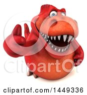 3d Red Tommy Tyrannosaurus Rex Dinosaur Mascot Holding Up A Thumb On A White Background